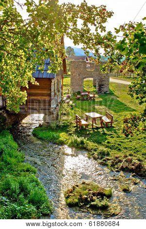 Gacka River Spring Watermill And Historic Ruins