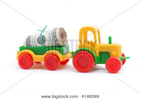 El dinero de juguete Tractor Transortation