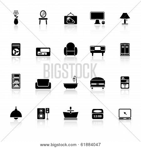 Home Furniture Icons With Reflect On White Background