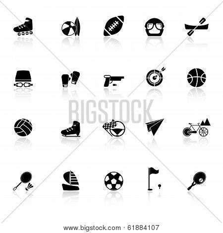 Extreme Sport Icons With Reflect On White Background