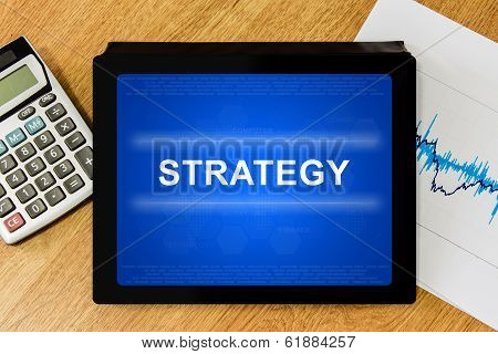 Strategy Word On Digital Tablet