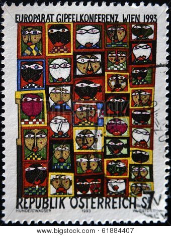 AUSTRIA- CIRCA 1993: A stamp printed in Austria shows Hundertwasser's work