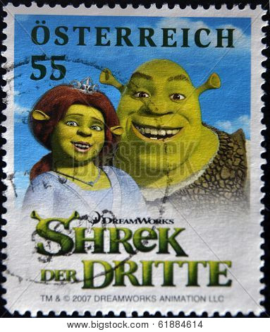 AUSTRIA - CIRCA 2007: A stamp printed in Austria shows Shrek circa 2007
