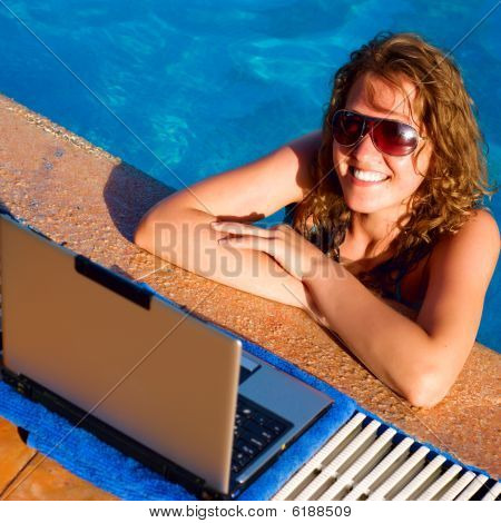 Woman Pool Laptop