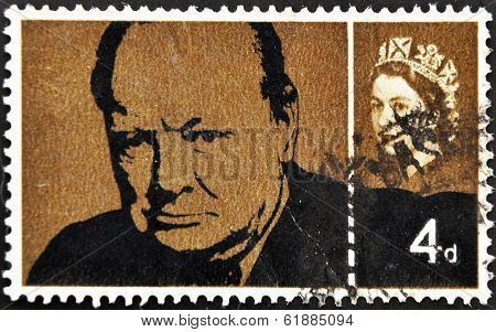 UK - CIRCA 1965 : stamp printed in Great Britain showing Winston Churchill circa 1965