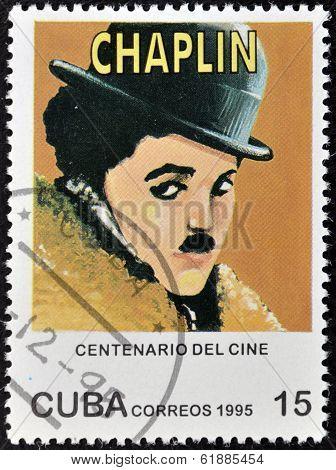 CUBA - CIRCA 1995: A stamp printed in Cuba shows Charles Chaplin Charlot circa 1995