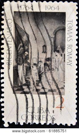 CUBA - CIRCA 1964: A stamp printed in Cuba dedicated to the bicentennial of Tomas Romay circa 1964