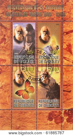 DJIBOUTI - CIRCA 2000: A stamp printed in Djibouti shows Darwin