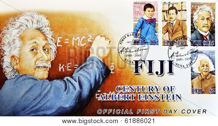 FIJI - CIRCA 2005: A stamp printed in Fiji Islands commemorating the centenary of Albert Einstein
