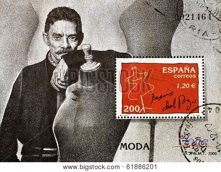 SPAIN - CIRCA 2000: A stamp printed in spain showing the famous Spanish designer Jesús del Pozo