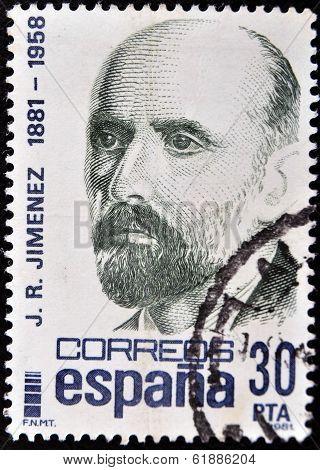 SPAIN - CIRCA 1981: A stamp printed in Spain shows Juan Ramon Jimenez circa 1981