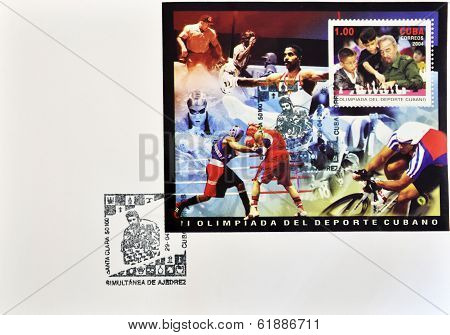 CUBA - CIRCA 2004: A stamp printed in Cuba shows Fidel Castro playing chess with children postcard