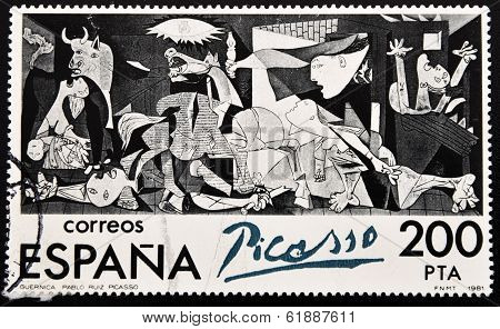 Stamp shows painting by Pablo Picasso Guernica