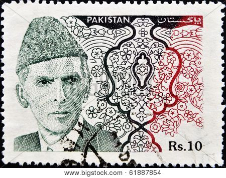 PAKISTAN-CIRCA 1994:A stamp printed in PAKISTAN shows image of Muhammad Ali Jinnah