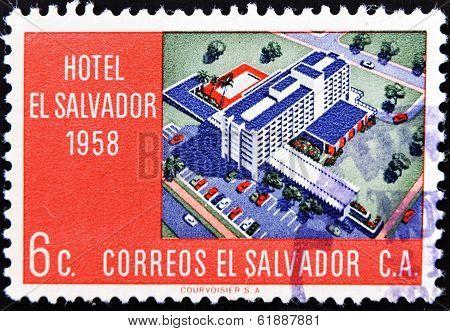 EL SALVADOR - CIRCA 1958: A stamp printed in Salvador shows Hotel El Salvador circa 1958