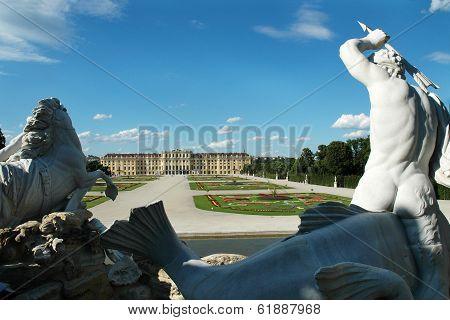 SCHONBRUNN PALACE, VIENNA, AUSTRIA CIRCA JUNE 2007 - Statue of Triton in the garden