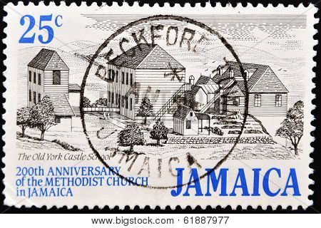 A stamp printed in Jamaica commemorating the 200th anniversary of the methodist church
