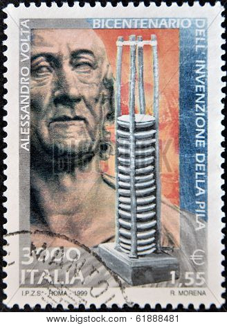 ITALY - CIRCA 1999: A stamp printed in Italy shows Alesandro Volta
