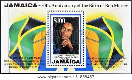 JAMAICA - CIRCA 1995: A stamp printed in Jamaica shows Bob Marley