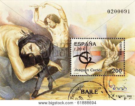 SPAIN - CIRCA 2000: A stamp printed in Spain shows the flamenco dancer Joaquin Cortes circa 2000