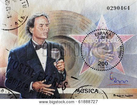 SPAIN - CIRCA 2000: A stamp printed in Spain shows the famous singer Julio Iglesias circa 2000