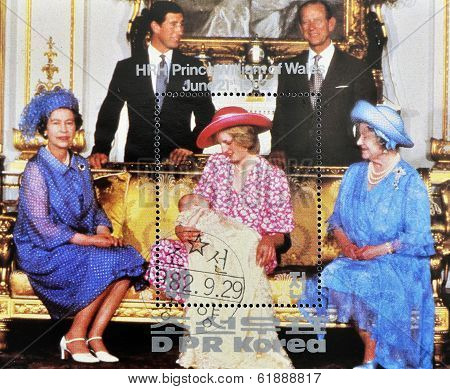 NORTH KOREA - CIRCA 1982: stamp printed in DPR Korea shows British royal family with Princess Diana