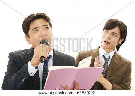Man singing karaoke