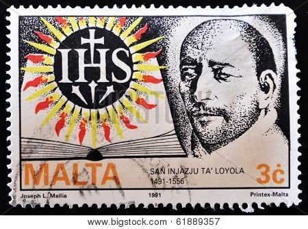 MALTA - CIRCA 1991: A stamp printed in Malta showing the image of Spanish San Ignacio de Loyola