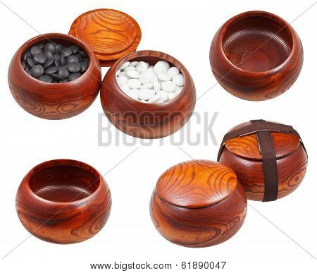 Set Of Wooden Bowls For Go Game