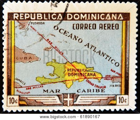 A stamp printed in Dominican Republic shows map of the Dominican Republic