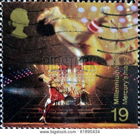 UNITED KINGDOM - CIRCA 1998: stamp printed in Great Britain shows Freddie Mercury leader of Queen