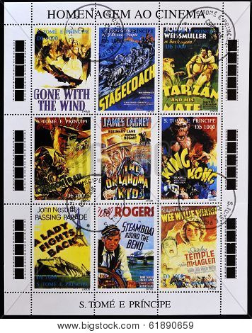 stamps printed in Sao Tome in homage to the movies shows movie posters