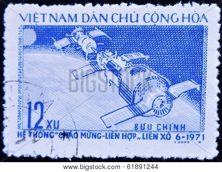 VIETNAM - CIRCA 1971: A stamp printed in Vietnam shows space station