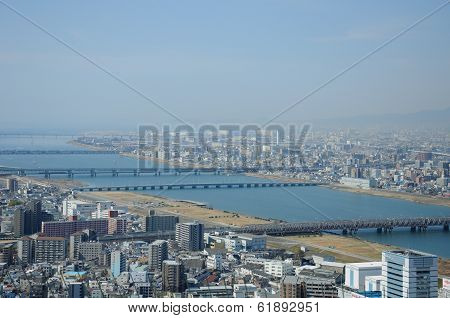A view of Osaka and the Yodo River