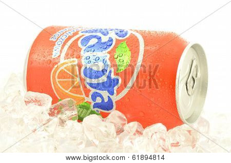 Can of Fanta drink on ice