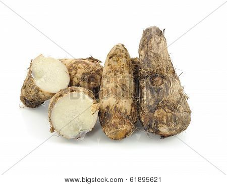 Taro Roots On White