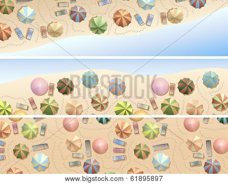 Horizontal Banners Of Many Parasols, Deck Chair On Beach.