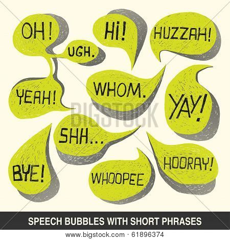 Hand Drawn Speech Bubble Set With Short Phrases - Illustration