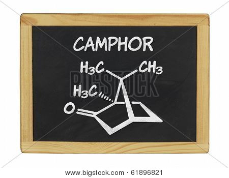 chemical formula of camphor on a blackboard