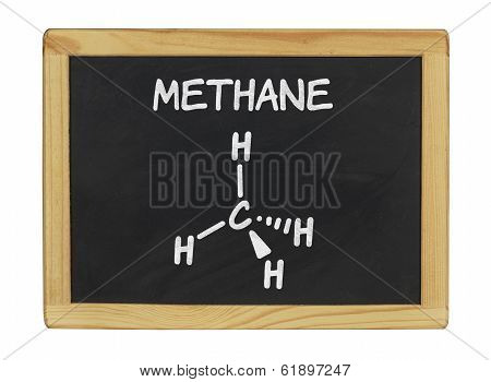 chemical formula of methane on a blackboard