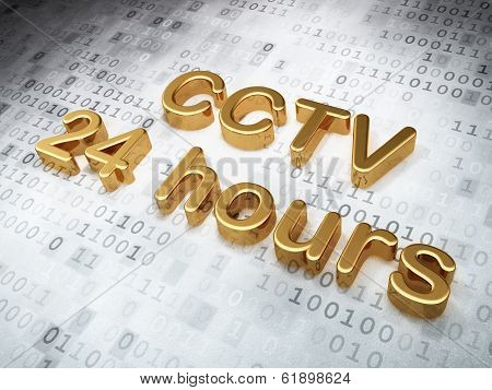Security concept: Golden CCTV 24 hours on digital background