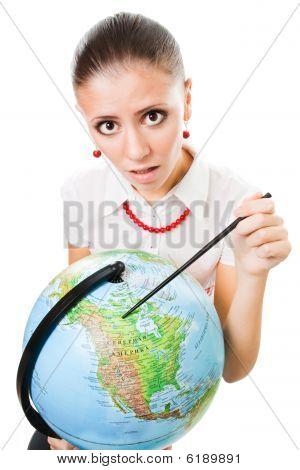 Sad Woman With The Globe