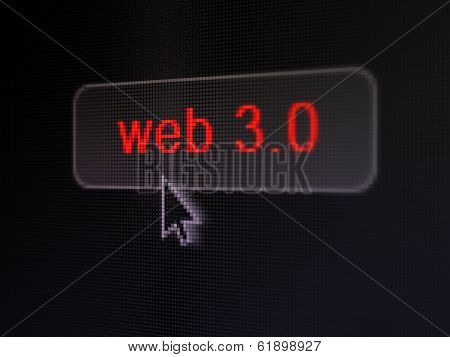 Web design concept: Web 3.0 on digital button background