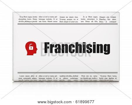 Finance concept: newspaper with Franchising and Head With Padlock