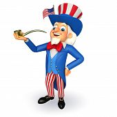 stock photo of uncle  - 3d rendered illustration of Uncle Sam with smoking pipe - JPG