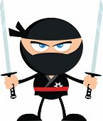stock photo of ninja  - Angry Ninja Warrior With Two Katana Flat Design  Illustration Isolated on white - JPG