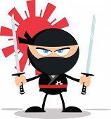 stock photo of ninja  - Angry Ninja Warrior Cartoon Mascot Character With Two Katana Flat Design  Illustration Isolated on white - JPG
