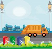 image of segregation  - truck and segregation of garbage in the city  - JPG