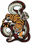 pic of tigers  - snake and tiger fighting - JPG