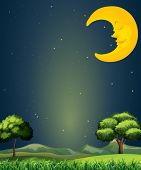 pic of landforms  - Illustration of a bright sky with a sleeping moon - JPG